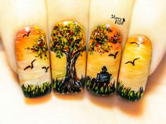 This item is unavailable - Autumn Sunset⎮ Freehand Nail Art. Handmade Fake Nails, False Nails, Press On Nails, Micropainting - Tree Nail Art, Tree Nails, Fall Nail Art Designs, Short Nail Designs, Thanksgiving Nail Art, Autumn Nails, Press On Nails, Creative Nails, Cool Nail Art