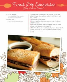 A Cloth Life: Cold Weather Comfort Foods - french dip sandwiches recipe