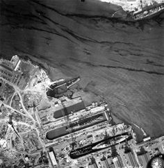 An aerial view of Pearl Harbor on December 10, 1941
