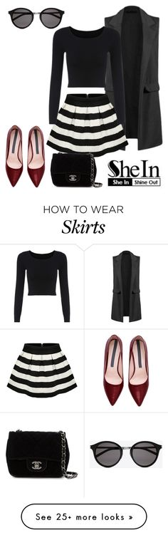 """""""The theme is:Stripe Flare Zip Skirt"""" by dazzlious on Polyvore featuring Chanel, Yves Saint Laurent, women's clothing, women, female, woman, misses and juniors"""