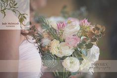 beautiful blushing brides, gold sprayed gum foliage and seasonal flowers www.jademcintoshflowers.com.au www.popcornphotography.com.au
