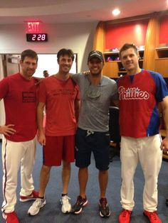 Cliff Lee, Cole Hamels and Jonathan Papelbon with Luke Bryan <3