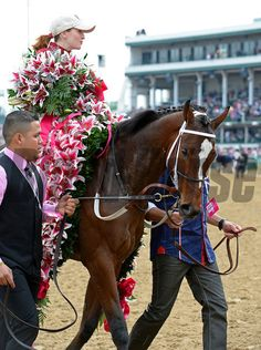 Rosie Napravnik with the lilly bouquet and filly with lilly blanket. Untapable with Rosie Napravnik wins the Kentucky OAKS. Anne M. Eberhardt Photo