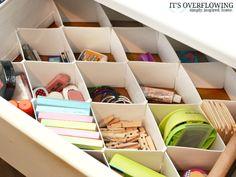 Sock organizers as office drawer organizer | Other Desk-Organization Ideas @Amber Johnson Overflowing