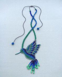 Items similar to Seed Beaded Hummingbird. on Etsy Bird Earrings, Beaded Earrings, Beaded Jewelry, Bead Crafts, Jewelry Crafts, Jewelry Art, Native Beadwork, Native American Beadwork, Hummingbird Necklace