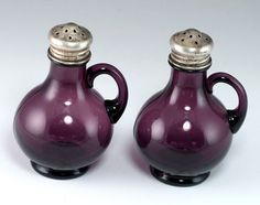 Vintage Amethyst Glass Bottles w Sterling Silver Plated Lids Salt Pepper Shakers | eBay