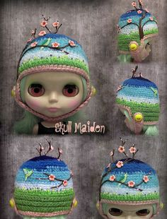 Doll Clothes Patterns, Clothing Patterns, Kids Hats, Barbie Clothes, Pin Cushions, Blythe Dolls, Coin Purse, Crochet Hats, Skull