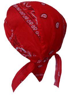 Red Paisley Headwrap Doo Rag Durag Skull Cap Cotton Sporty Motorcycle Hat