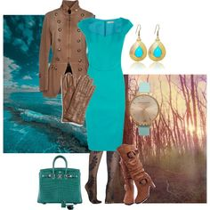 """""""Fun with brown and turquoise"""" by maria-kuroshchepova on Polyvore"""