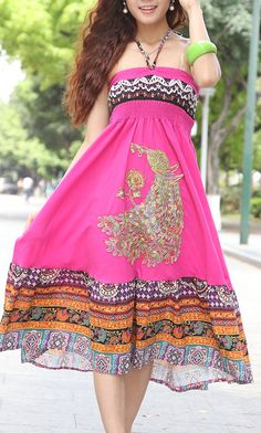 Bohemian dress embroidered peacock dress 555 Rose