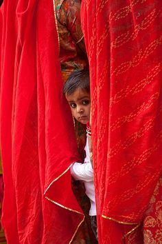 little boy on the street peering out from behind his mother's sari, jodhpur, rajasthan, india