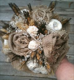 Country Charm Bouquet Wheat Sola Flowers And by sparkleandposy, $85.00
