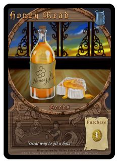 """""""Honey Mead"""" card from Tavern Masters fantasy card game by Dann Kriss. Art by Galen Ihlenfeldt. Dann Kriss Games LLC ® All Rights Reserved Honey Mead, Whiskey Bottle, Card Games, Masters, Fantasy, Drinks, Cards, Master's Degree, Drinking"""
