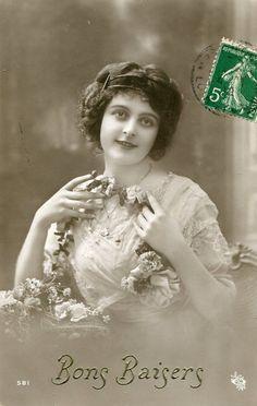 Original French vintage real photo postcard - Lady with flower garland - Victorian Paper Ephemera