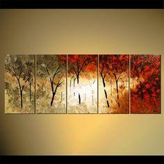 """Bosque florecen árboles pintura de paisaje Original abstracto moderno espátula por Osnat - confeccionar - 60 """"x 24"""""""