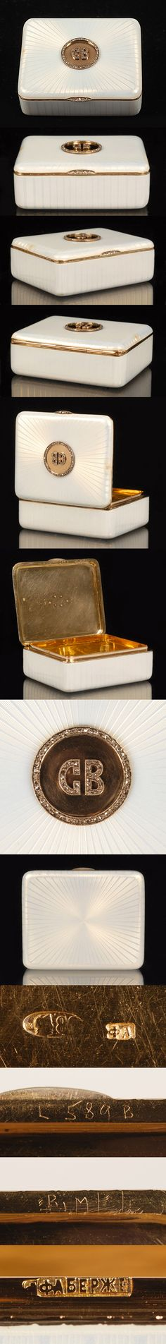 Faberge guilloche enamel~Snuff box with gold gilt crest in the center. #antique #vintage #box