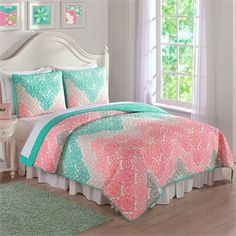 Update your child's sleeping space with this lovely quilt set from Laura Hart. Featuring a charming antique lace chevron pattern in a soft hues of green and pink, this quilt set is sure to add sophist Girl Room, Girls Bedroom, Bedroom Decor, Child's Room, Bedrooms, Bedding Decor, Bedroom Ideas, Chevron Bedding, Chevron Quilt