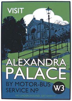 Vintage style screenprint poster - Visit Alexandra Palace. £55.00, via Etsy.