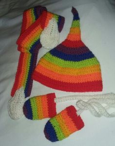 Rainbow crochet Pixie hat with scarf and gloves, 0 - 3 months