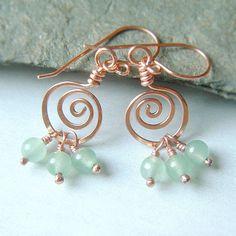 Coiled Hoop Earrings Copper Wire Wrap Green Aventurine  via Etsy.