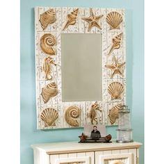 seashell comforter set with yellow walls | Seashell Mirrors for Seashell Decor | Seashell Wall Decor