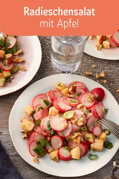 Radieschensalat mit Apfel The salad tastes great as a side dish for grilling or is also suitable as Salad Recipes Healthy Vegetarian, Fresh Salad Recipes, Salad Recipes For Dinner, Summer Salad Recipes, Easy Healthy Recipes, Appetizer Dishes, Radish Salad, Clean Eating Recipes, Grilling Recipes