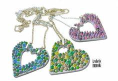 Contemporary Jewelry / Hearts / Polymer Clay / Fimo / www.facebook.com/izabelanowakdesign