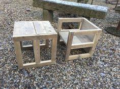 Kindersetje, tafel en/of stoeltje steigerhout