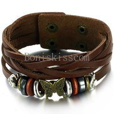 Vintage Butterfly Beads Stud Snap Bracelet Leather Wrap Wristband Men's Women's #Handmade #Cuff