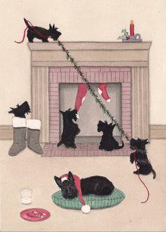 Christmas Card Scottish terrier scottie family