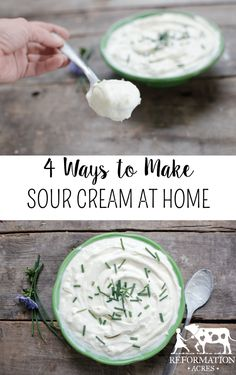 How to Make Sour Cream Ways) - Reformation Acres Learn of 4 different, easy ways you can make sour cream at home! Whether you make your own sour cream culture or purchase one, you're going to love it! Sour Cream Substitute, Make Sour Cream, Homemade Sour Cream, Sour Cream Pound Cake, Sour Cream Chicken, Sour Cream Coffee Cake, Homemade Cheese, Milk Recipes, Canning Recipes