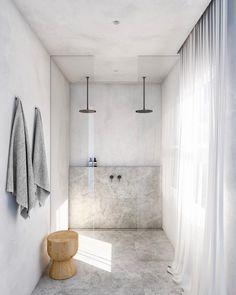 modern bathroom design with modern walk in shower with two rainfall shower heads, minimalist bathroom design, netural gray bathroom design