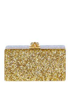 Edie Parker Jean Half-and-Half Confetti Clutch Bag, Silver/Gold Fall 2015
