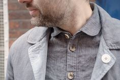 Blue linen reversible jacket.