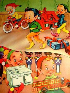 Page From Santa's Busy Day: 1953 Vintage Children's Christmas Book by cwalsh415, via Flickr #Christmas #Santa