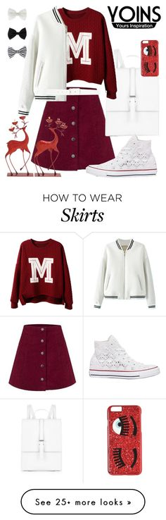 """""""Holiday colors: white and red"""" by yinggao on Polyvore featuring Meli Melo, Converse, Accessorize, Theory, Chiara Ferragni and yoins"""