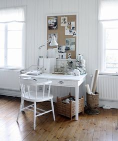 Scandinavian chic. I'd have to use a more vintagy chair, but otherwise I love it.