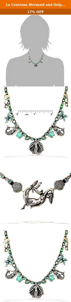 La Contessa Mermaid and Dolphin Ocean Garden Necklace in Turquoise and Pacific Opal Tones - N8061. La Contessa's line of jewelry is designed and completely handcrafted in Baltimore, Maryland by artist Mary DeMarco. Inspired by nature, the intricate parts are sculpted and cast in pewter and combined to create this beautifully intricate piece of jewelry. Semiprecious stones and Austrian crystals are used to create a unique combination of colors while beads and colored glass add a touch of...