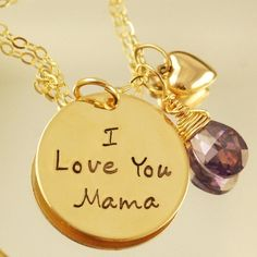 Mother's Day Gifts!  PERSONALIZED MOTHER JEWELRY, HAND STAMPED MOMMY NECKLACE WITH GOLD HEART, MOTHER OF THE BRIDE.  $99.00