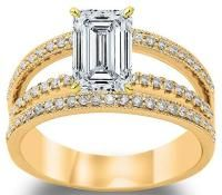 Instantly Recognizable By The Flat Facets Resembling The Steps Of A Staircase, An Emerald Cut Diamond Engagement Ring oozes charm. Mens Emerald Rings, Emerald Cut Diamond Engagement Ring, Rose Gold Diamond Ring, Emerald Cut Diamonds, Engagement Ring Cuts, Diamond Cuts, Mens Pinky Ring, Bridesmaid Jewelry Sets, Split Shank