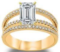 2.58 Ctw 14K Yellow Gold GIA Certified Emerald Cut Split Shank Three Row Diamond Engagement Ring