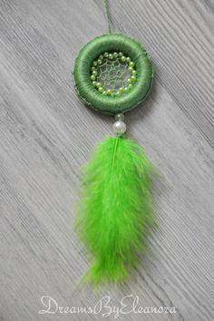 Verde Mini Atrapasueños con piedras preciosas de Prehnita