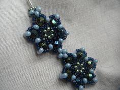 Beaded Earrings - Midnight Blue Green Snowflakes. $15.99, via Etsy.