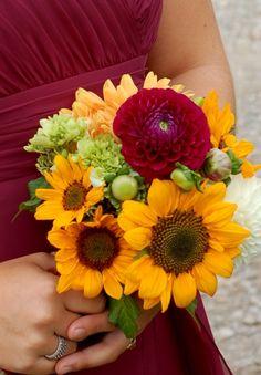 mini sunflower, hydrangea & dahlia bridesmaid bouquet