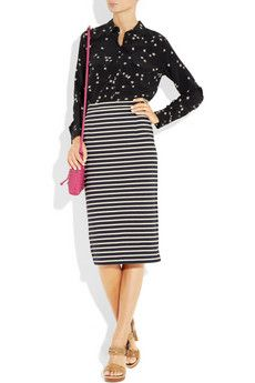 TIBI  Striped knitted cotton pencil skirt