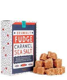 Liberty London hand-broken caramel sea salt crumbly fudge tempers classic sweetness with a kick of savoury flavour. Craft Packaging, Packaging Design, Caramels, Seaweed, Sea Salt, Fudge, Pie, Logo, Retro