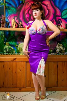 Purple Stretch Taffeta PinUp Dress with Vintage by PinupRevival, $89.99