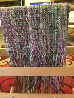 Rose Garden handwoven scarf. Mixed warp, cotton weft. Woven on a rigid heddle loom at 7.5dpi.