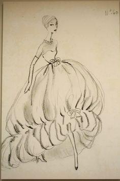 Sketch by Cristobal Balenciaga, 1956