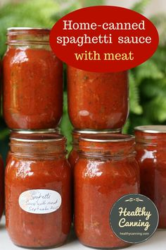 "Spaghetti Sauce with Meat – Healthy Canning Spaghetti Sauce with Meat. This is a delicious, hearty, ready to ""heat and eat"" pure bolognese-style spaghetti sauce, with ground meat in it. This recipe requires a pressure canner. Pressure Canning Recipes, Home Canning Recipes, Canning Tips, Pressure Cooking, Canned Meat, Canned Food Storage, Canning Jar Storage, Canned Foods, Canning Vegetables"